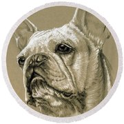 French Bulldog Round Beach Towel