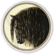 Horse Painting - Friesland Nobility Round Beach Towel by Crista Forest