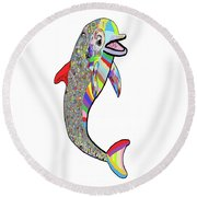 Dolphin - The Devil's In The Details Round Beach Towel