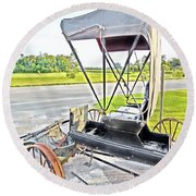 Buggy By The Road Round Beach Towel
