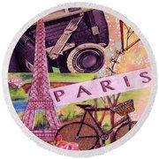 Paris  Round Beach Towel