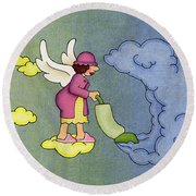 Heavenly Housekeeper Round Beach Towel by Sarah Batalka