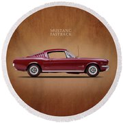 Ford Mustang Fastback 1965 Round Beach Towel