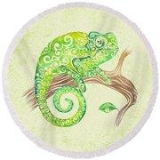 Swirly Chameleon Round Beach Towel