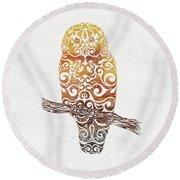 Swirly Owl Round Beach Towel