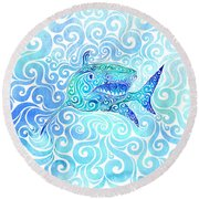 Swirly Shark Round Beach Towel