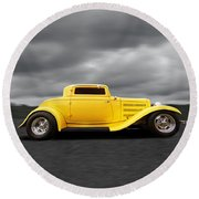 Yellow 32 Ford Deuce Coupe Round Beach Towel