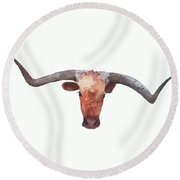 On The Level Texas Longhorn Watercolor Painting By Kmcelwaine Round Beach Towel