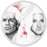 Dexter And Debra Morgan Round Beach Towel