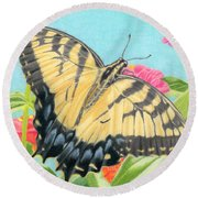 Swallowtail Butterfly And Zinnias Round Beach Towel