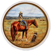 Horse Painting - Waiting For Dad Round Beach Towel by Crista Forest