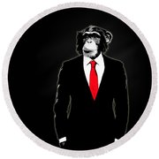Domesticated Monkey Round Beach Towel by Nicklas Gustafsson