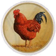Rhode Island Red Rooster Round Beach Towel