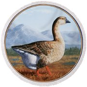 Brown Chinese Goose Round Beach Towel by Crista Forest