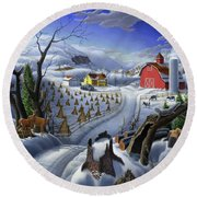 Folk Art Winter Landscape Round Beach Towel