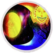 Great Sun Jester And The Night Sky Round Beach Towel