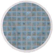 Snowflake Collage - Season 2013 Bright Crystals Round Beach Towel by Alexey Kljatov