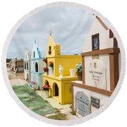 Aruba Cemetery Round Beach Towel