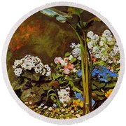 Arum And Conservatory Plants 1864 Round Beach Towel