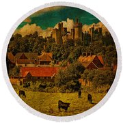 Arundel Castle With Cows Round Beach Towel