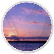 As Sun Sets Round Beach Towel
