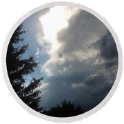 As The Clouds Move Across The Sky Round Beach Towel
