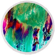 As The Colors Blend.. Round Beach Towel