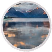 As The Day Ends At West Glacier Round Beach Towel