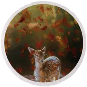As The Leaves Fall - Painting Round Beach Towel