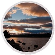 As The Sun Sets Over Loch Rannoch Round Beach Towel