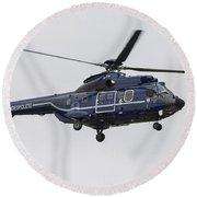 As332 Super Puma Helicopter Round Beach Towel