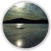 Ashokan Sunset Photograph Round Beach Towel