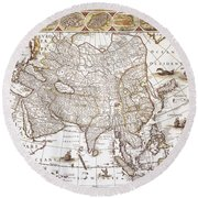 Asia: Map, C1618 Round Beach Towel