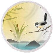 Asian Art Chickadee Landscape Round Beach Towel
