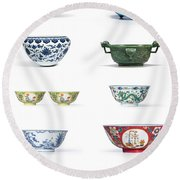 Asian Art Chinese Pottery - Bowls Round Beach Towel