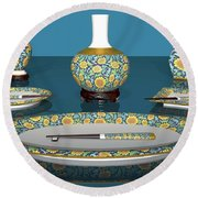 Asian Dining And Vases Round Beach Towel