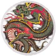 Asian Dragon Round Beach Towel by Maria Arango