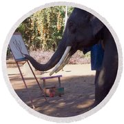 Asian Elephant Painting Picture Round Beach Towel