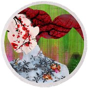 Asian Flower Woman Red Round Beach Towel