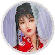 Amenable Japanese  Girl.              From  The Attitude Girls  Round Beach Towel