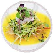 Asian Korean Fusion Fresh Prawn Salad Round Beach Towel