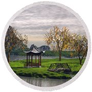 Asian Landscape Round Beach Towel