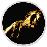 Asian Stallion Round Beach Towel