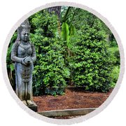 Asian Statue Jefferson Island  Round Beach Towel