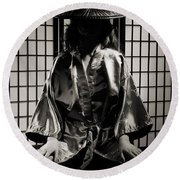 Asian Woman In Kimono Round Beach Towel