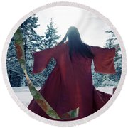 Asian Woman In Red Kimono Dancing In The Snow Spinning Around To Round Beach Towel