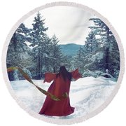 Asian Woman In Red Kimono Dancing On The Snow In The Forest Round Beach Towel