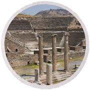 Asklepion Columns And Amphitheatre Round Beach Towel
