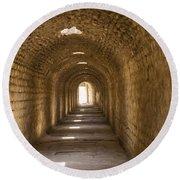 Asklepios Temple Passageway Round Beach Towel