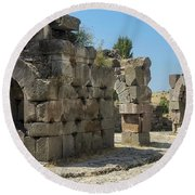 Asklepios Temple Ruins View 5 Round Beach Towel